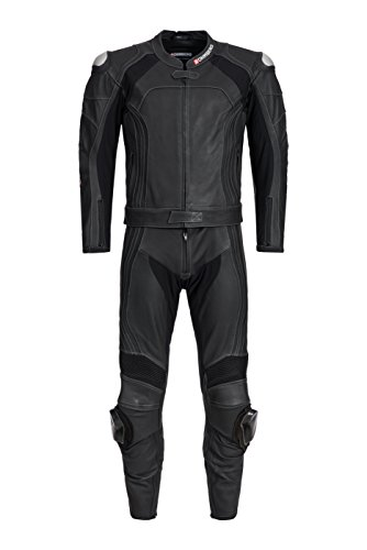 Bohmberg THUNDER 2-teilige Herren Lederkombi Motorradbekleidung Biker Anzug (50 / M, Schwarz)