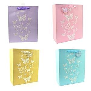 Gifts 4 All Occasions Limited SHATCHI-587 - Bolsas de papel (4 unidades, tamaño mediano), diseño de mariposas, multicolor