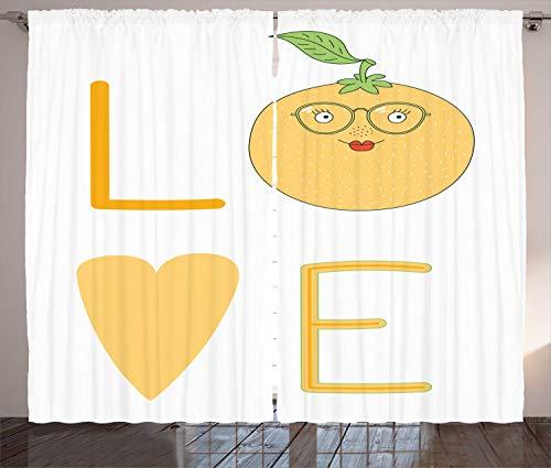 ABAKUHAUS Geeky Rustikaler Vorhang, Nerdy Orange Brillen, Wohnzimmer Universalband Gardinen mit Schlaufen und Haken, 280 x 225 cm, Erde Gelb Pistazie Vermilion Weiß