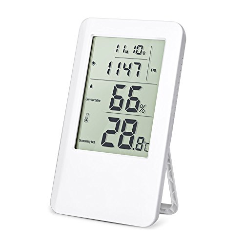Hotchy Hygrometer Thermometer, Digital Luftfeuchtigkeitsmesser, Digital Thermo- und Hygrometer, Überwachung der Luft in Innenräumen mit LCD-Bildschirm und Wecker für zu Hause, Büro oder Schule
