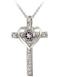 Sterling Silver Amethyst & Diamond Accent Cross Heart Pendant