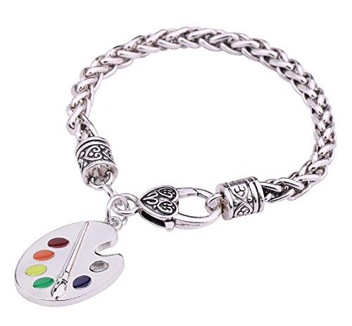 Trendy esmaltado artista paleta de pintura y pincel trigo pulsera de cadena regalos joyería para las mujeres