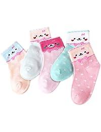 5 Par Calcetines de Canalé para Niños Algodón Invierno Calcetines Calientes con Print Animal de Adorable Cartel, para Niños Niñas 3-5