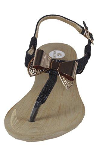 Blonna - coole Sandale mit Metallsteinen Pailetten Knöchelriemchen Schaft Zehentrenner LederOptik Damen Sommer Schuhe 36 37 38 39 40 41 Metall-Schleife Pailetten - Schwarz