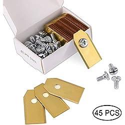 45 x Lames de Couteau en Titane pour Toutes Les Tondeuses Robotiques Husqvarn/Automower/ Yardforce/Gardena(3g-0.75mm) Avec 45 Vis, Lames de Rechange pour Modèles 105,310,315,320,420,430x,r40i