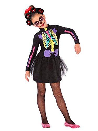 DISBACANAL Disfraz de Catrina Multicolor niña – Único, 7-9 años