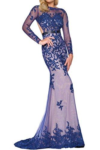 Prom Style Damen Sexy Spitze Ruckenfrei Abendkleider Ballkleider Cocktailkleider Etui Lang Partykleider Brautmutterkleider mit Aermel Blau