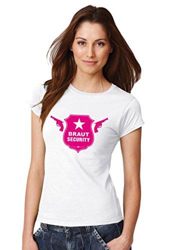::: BRAUT SECURITY ::: T-Shirt Junggesellenabschied ::: Damen Weiß mit pinkem Aufdruck