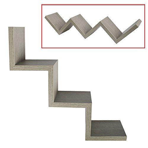 Vetrineinrete® mensola da parete colore rovere grigio a zig zag in legno mdf libreria design moderno 3 ripiani scaffale fissaggio a muro a scomparsa kit incluso 59 x 12 cm g69