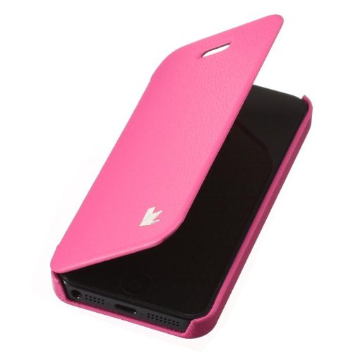 Jisoncase KLASSISCH Handytasche Book Type Apple iPhone 5/ iPhone 5S/ iPhone SE Hülle Case mit versteckter Magnetverschluss Tasche Leder Handyhülle in weiß JS-IP5-03H00 pink