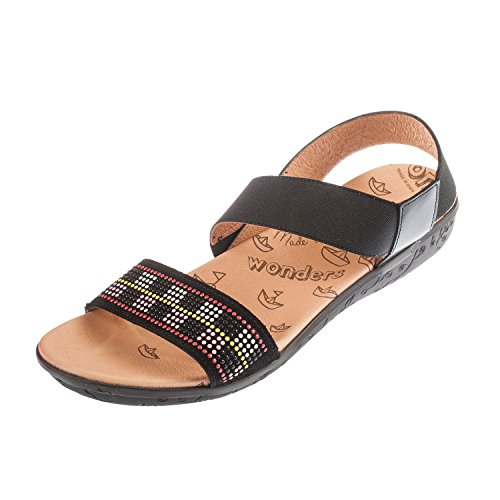Wonders, Sandali donna blank, nero (Black), 42