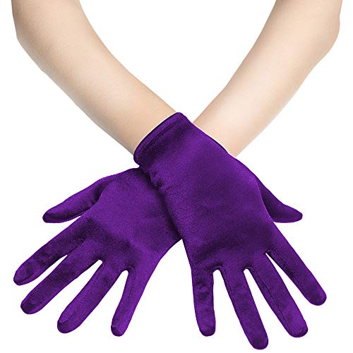 Coucoland Damen Handschuhe Satin Classic Opera Fest Party Audrey Hepburn Handschuhe 1920s Handschuhe Damen Lang Kurz Elastisch (Violett/22cm)
