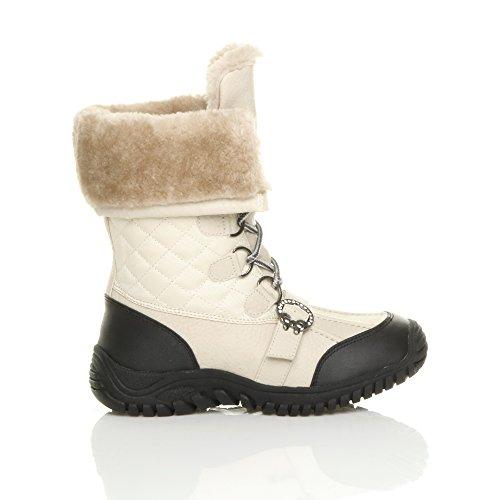Alta Inverno Bege Saltos De Bezerro Tamanho Neve Mulheres De Acolchoado Laços Creme Pequenos Pele Botas 64gqvaXn