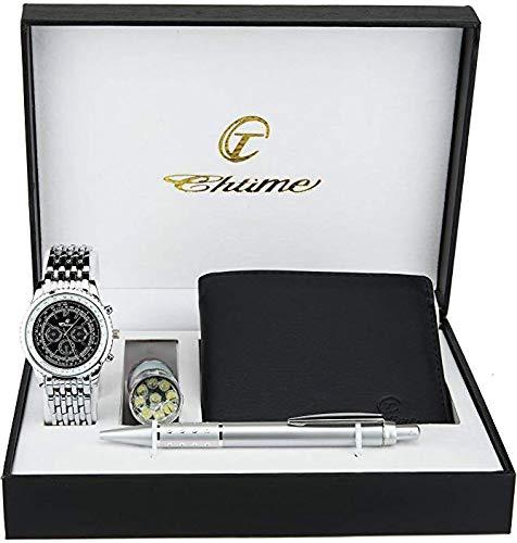 Cofanetto orologio uomo nero- lampada led - portafoglio -penna