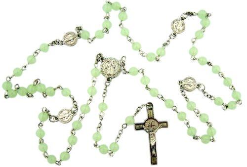 Saint ST Benedikt von Nursia Mittelpunkt und Kruzifix 6mm luminous Glow in the Dark Bead 48,3cm Rosenkranz Halskette