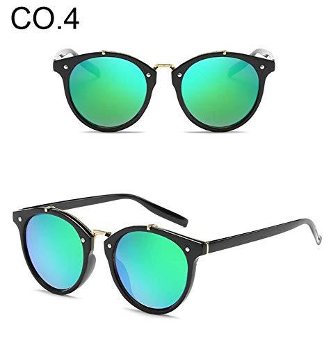LAMAMAG Sonnenbrille Runde Sonnenbrille Frauen Vintage Gradient Mirror Points Sonnenbrille Retro Kreis Cat Eye Shades Oculos, 4