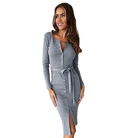 Rcool Elegante Damen Paket Hüfte schlank Taste Bleistiftrock Business Cocktail-Kleid mit V-Ausschnitt (M,