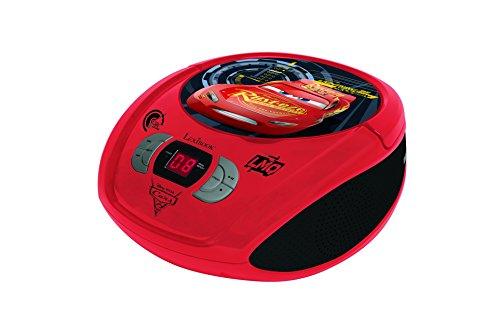 Lexibook Disney Cars Boombox CD-Player, Mikrofonanschluss , AUX-Eingangsbuchse, AC-Betrieb oder Batterie, Rot/Schwarz, RCD108DC