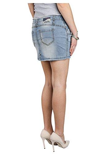 SUBLEVEL Damen Mini-Jeansrock Stretch kurz im Used-Look mit destroyed Parts Blue
