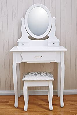 Versailles DR005 Dressing Table Stool & Mirror Set White 3 Drawers - cheap UK dressing table shop.