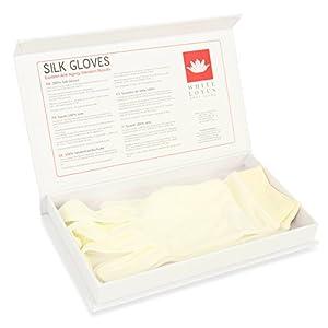 White Lotus Anti Aging – Guantes de Seda de Mujer Hidratantes Antienvejecimiento Para Dormir con Crema – Seda Salvaje Para Reducir La Inflamación de Manos Presentado En Lujosa Caja de Regalo – Blancos