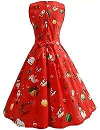 Odejoy Donna Pizzo Vestito Lunghe Vintage Cerimonia Lungo Abito da Sera  Natale Stampato Eleganti Pizzo Vintage Schienale Cocktail… 45476f1d52b