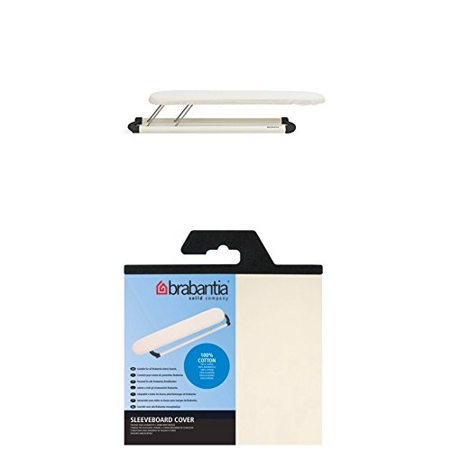 Brabantia Sleeve Board, 60 x 10cm - White Frame + Cover Cotton no Foam, Ecru