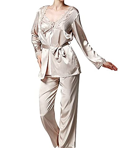 Women Classic Long Sleeve Printed Satin Silk Pyjamas 3 Piece Set Nightwear Sleepwear Camel XL