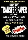 Inkjet Printable Iron On T Shirt & Fabric Transfer Paper For Dark Fabrics 20 A4 Sheets