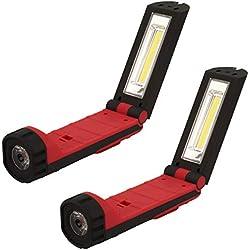 2 HyCell LED Werkstattlampe flexibel, magnetisch & kabellos - Profi Arbeitslampe mit 255 Lumen - Vielseitige LED Taschenlampe 3W für Auto & Werkstatt Zubehör - LED Arbeitsleuchte inkl. AAA Batterien