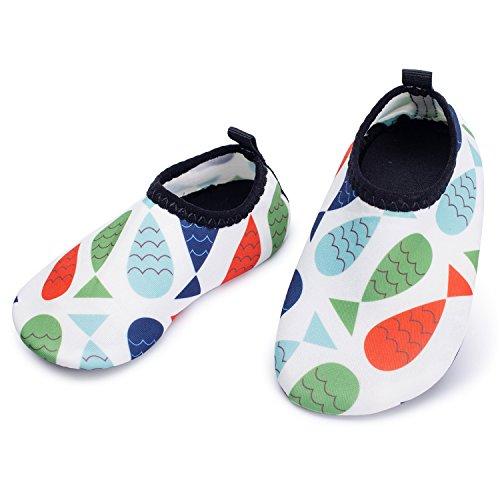 JIASUQI Baby Quick-Dry Wasser Sport Aqua Schuhe Zum Schwimmen Walking Yoga See Strand Garden Park Fahren, Bunte Fische 18-24 Monate (Herstellergröße : 21/22)