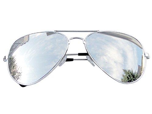 225aaf9405354 Tedd Haze - Lunettes style aviateur + Étui - Verre miroir - Argent