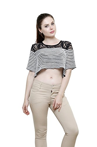 Renka White Round Neck Poly Cotton Lace Crop Tops For Women