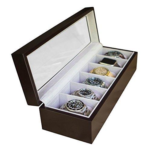 Edle Uhrenbox aus Echtholz für 6 Uhren mit Glasfenster von Case Elegance