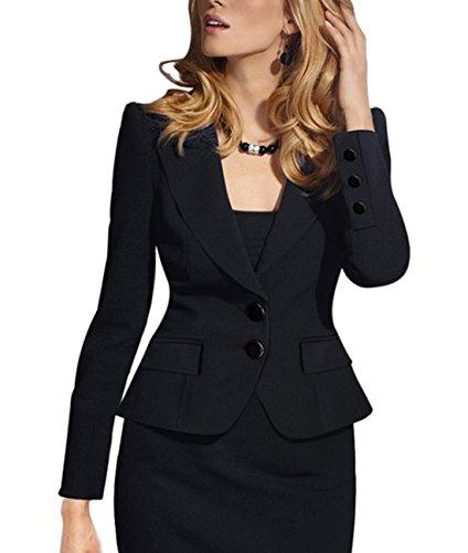 Aisuper Womens Slim Two Buttons Short Blazer Office Jacket Suit Outerwear