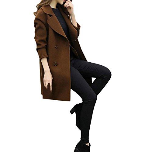 Donna Lunga Cappotto ,Donne-Mondo Autunno Lungo Cappotto Eleganti Giacche Manica Lunga Cardigan Cappotto Parka Outwear, Donna Eleganti Trench Cappotto, Cappotto Di lana Donna Caffè