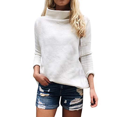 NPRADLA 2018 Shirt Damen Langarm Rollkragenpullover Strickjacke Bluse Sweatshirt(L/38,Weiß-3)