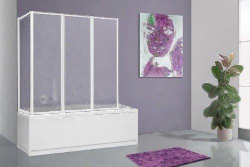 faltbare duschwand fuer badewanne Duschwand für Badewanne, faltbar, Länge: 68cm + 133 cm, Höhe: 140cm, Aluminium, weiß und acrylfarben.