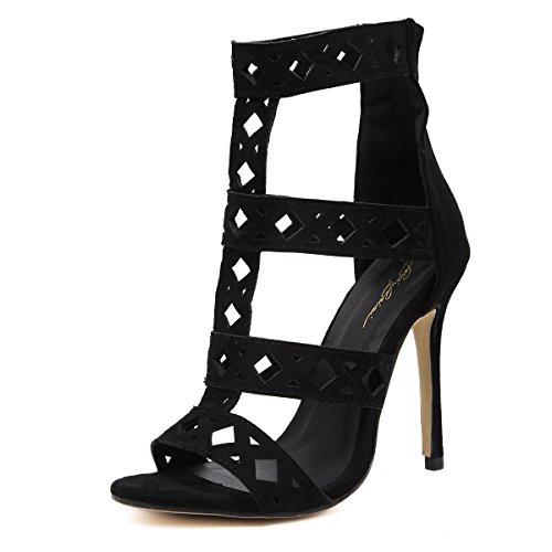 GS~LY Cadeau de fête des mères Creux en daim sandales sandales européens et américains Black