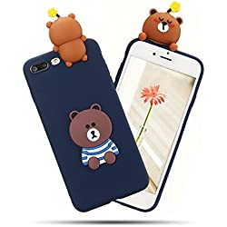Funda iPhone 7 Plus / iPhone 8 Plus, iPhone 7 Plus Funda Silicona, SpiritSun Soft Carcasa Funda iPhone 7 Plus Kawaii 3D Diy Case Carcasa Goma Flexible Ultrafina TPU Bumper Shock- Absorción y Anti-arañazos Parachoques Protectora Carcasa para iPhone 7 Plus / iPhone 8 Plus (5.5 pulgadas) - Small Grizzly Bear
