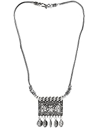 Zoho Fashions Silver Necklace Earing Set For Women