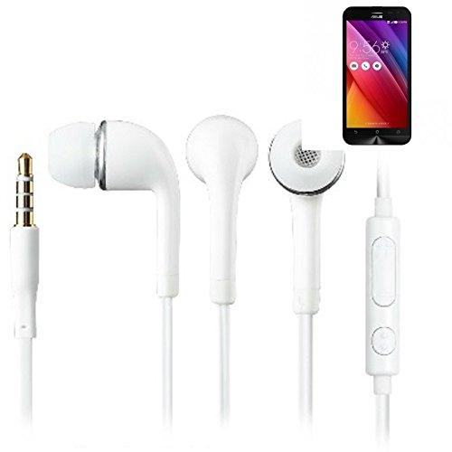 In Ear headphones para Asus ZenFone 2 Laser, con micrófono + control de volumen, blanco | 3.5mm auriculares micrófono omnidireccional, Studs auriculares auriculares estéreo sonido grave universal de control de volumen de los auriculares aplicación