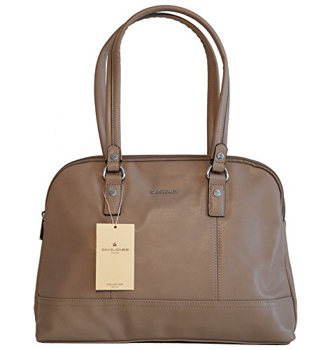David Jones Borsa donna a mano o a spalla in ecopelle modello classico a doppio manico con tasca interna porta tablet, netbook o ebook reader Cammello