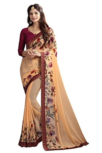 Zaparia Women's Multicolors Georgette Printed Less Border Saree With Blouse Piese (Beige)
