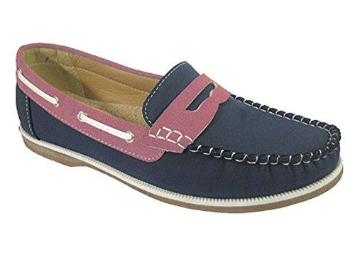 Footwear Sensation , Damen Mokassins Navy Pink Slip On