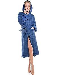 Aqua-textil - Albornoz de rizo con capucha, unisex, algodón, apto para sauna y como bata, bajo por la rodilla