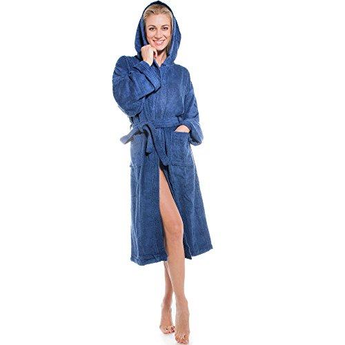 (aqua-textil Frottee Bademantel mit Kapuze aus 100% Baumwolle, für Damen u. Herren, Morgenmantel Föhr 0010135 blau XL)