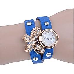 PromiseU Fashion Women Retro Synthetic Leather Strap Watch Butterfly Rivet Bracelet Wristwatch-Blue