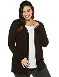 Ulla Popken Women's Plus Size Ribbed Knit Metallic Knit Jacket. 713705