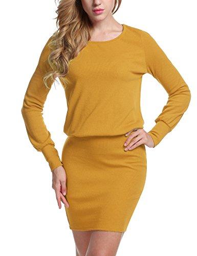 Meaneor Damen Strickkleid Sweatkleid Minikleid mit Langarm Sexy Paket Hüfte Kleid,Gelb - XXL